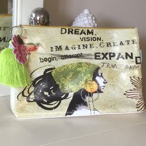 NWT Papayaart pouch with inspirational graphics.